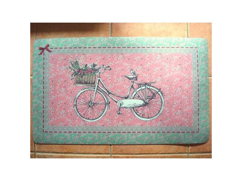 Tapis de sol rose et vert décor bicyclette style ancien