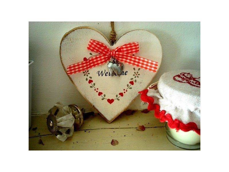 Suspension coeur en bois blanc, style chalet