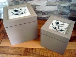 Duo de boîtes décor aux coqs ambiance campagne