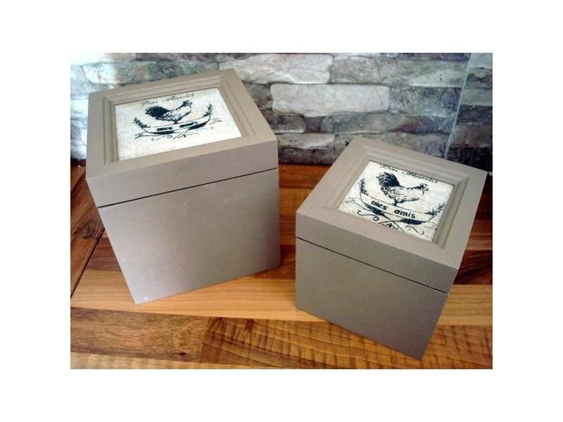 Boîtes de rangement campagnardes au décor coqs