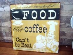"""Plaque vintage décorative """"Food & Cofee"""" en métal"""