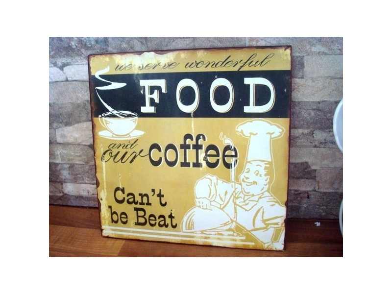 plaque vintage d corative food cofee en m tal. Black Bedroom Furniture Sets. Home Design Ideas