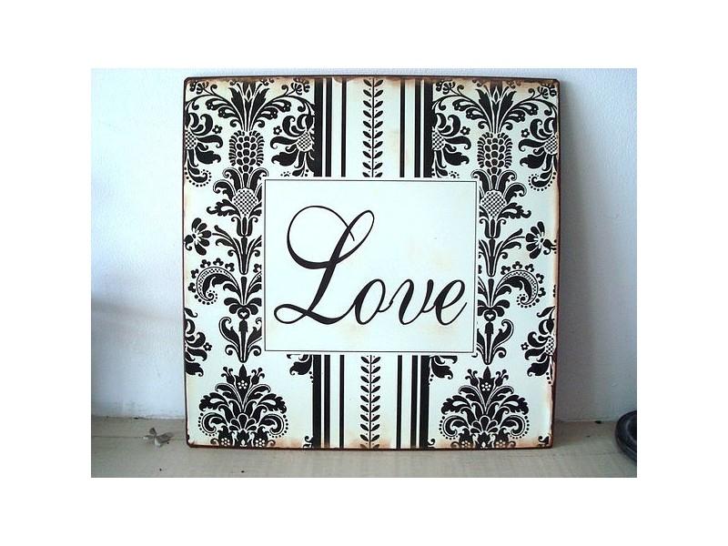 """Plaque décorative rétro """"Love"""" en noir & blanc"""