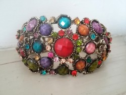 Bracelet rétro baroque fantaisie multicolore