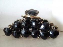 Pince à cheveux crabe aux perles noires style rétro