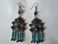 Boucles d'oreilles vintage pendant perles bleu turquoise