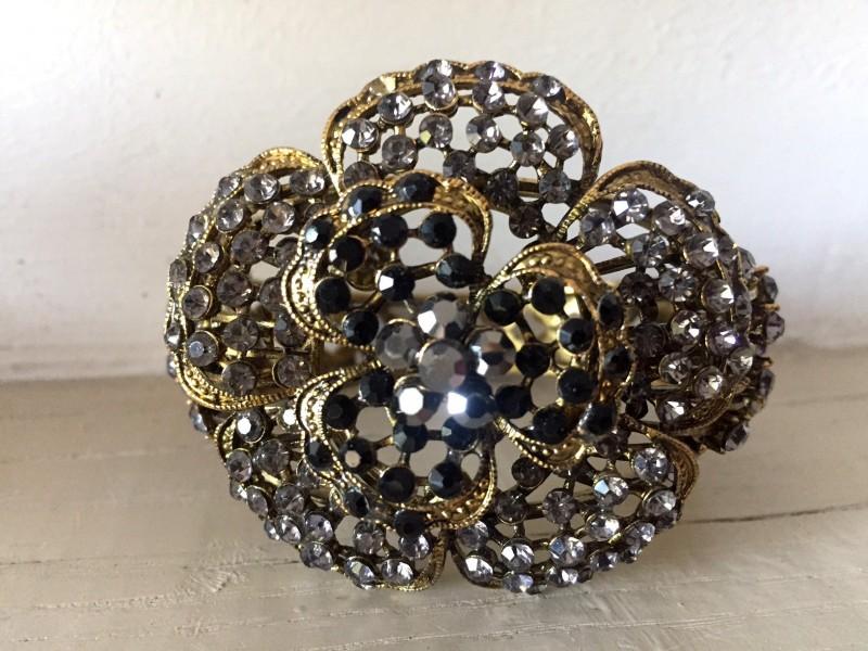 Bracelet rétro en métal doré et strass