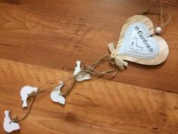 """Coeur à suspendre en bois et métal blanc """"Garden"""", style chalet"""