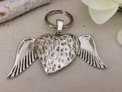 Porte clés original au coeur ailé en métal