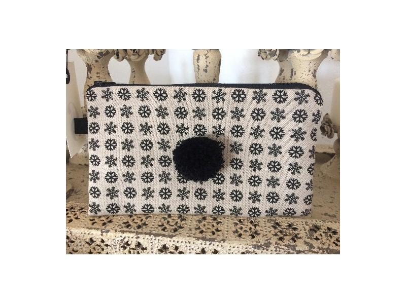 Pochette de sac aus flocons et pompon noir