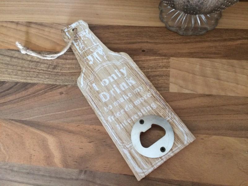 Décapsuleur bois naturel en forme de bouteille à suspendre, déco cuisine