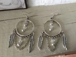Boucles d'oreilles plumes et perles ajourées et cristal
