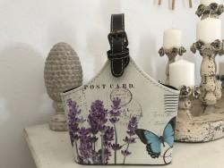 Vide poche vintage couleur lavande et papillon bleu
