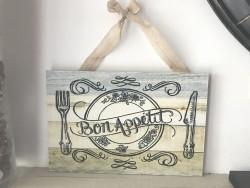 """Pancarte vintage aspect bois """"Bon Appétit"""""""