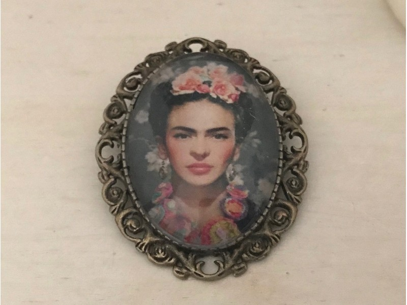 Broche fantaisie Frida KAHLO bronze