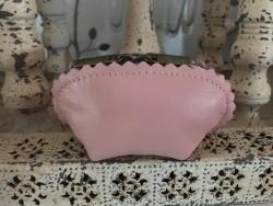 Porte monnaie en cuir véritable coloris rose poudré