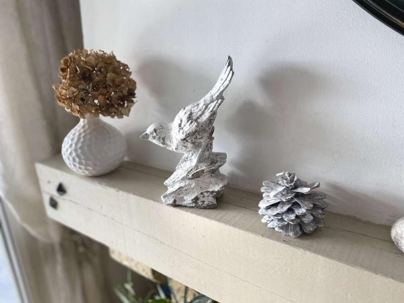 Décoration oiseau à poser gris et blanc givré