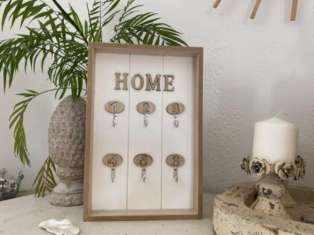 Boîte à clés murale en bois naturel et six crochets