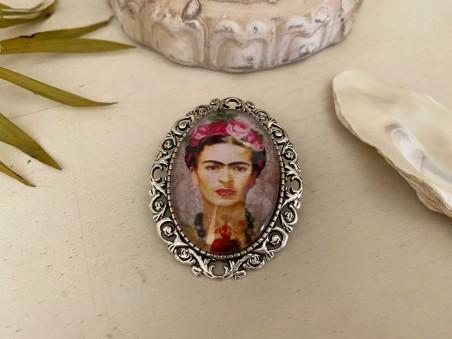 Broche originale Frida KAHLO sur fond rose