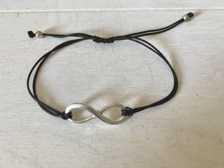 Bracelet sigle infini et cordon noir