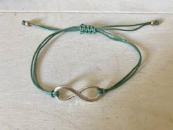 Bracelet sigle infini et cordon vert bronze
