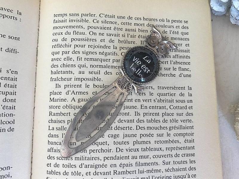 """Marque page au hibou style cosy """"La vie est belle"""""""