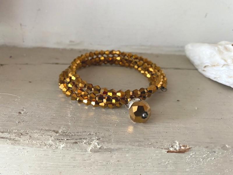 Bracelet fantaisie doré multi-rangs style bohème